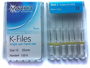 Mark3® K-Files, Stainless Steel, 25mm #15, 6/pack