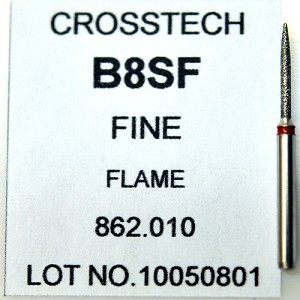 Cross Tech® Diamond Burs, B8SF, Flame, fine, 5/pack