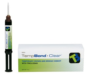 Kerr® TempBond® Clear™ Temporary Crown and Bridge Cement with Triclosan,  1 x 5ml automix syringe and 10 mixing tips