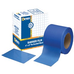 "Mark3® Barrier Film, perforated, non-stick edges, blue, 4"" x 6"", 1200/box"
