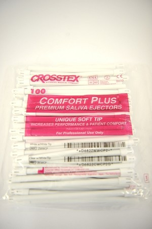 Crosstex® Comfort Plus™ Premium Saliva Ejectors, white with white tip, 100/pack