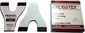Crosstex® Horseshoe Articulating Paper, Combo Red & Blue, 6 books of 12 sheets, 72/pack