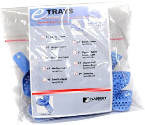 Plasdent® Excellent-II Disposable Impression Trays, #9 anterior, light blue, 12/bag