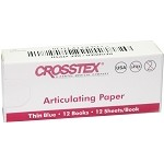 Crosstex® Articulating Paper, Thin Blue, 12 books of 12 sheets, 144/pack