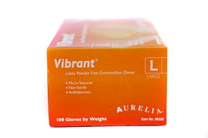 Aurelia® Vibrant™ Latex Powder Free Gloves, large, 100/box